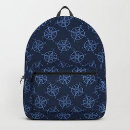 Cute blue maritime compass cartoon seamless pattern. Backpack