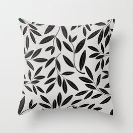 Black and White Plant Leaves Pattern Throw Pillow