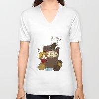hetalia V-neck T-shirts featuring Hetalia - Canada Loves Timmies  by BlacksSideshow