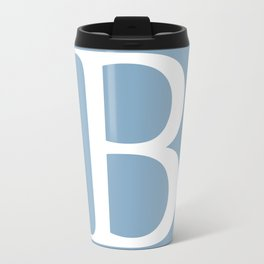 Letter B sign on placid blue color background Travel Mug