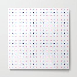 rhombus and tartan 8 -  pink and blue Metal Print