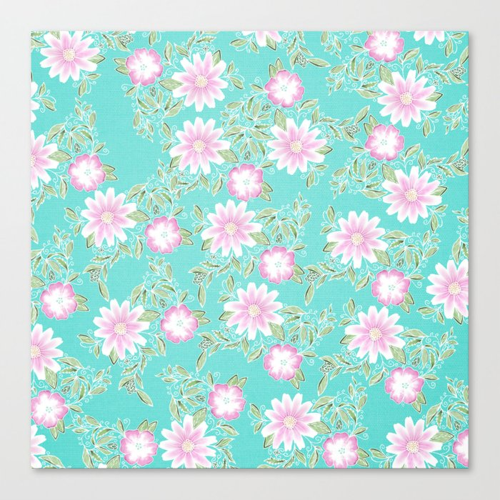 Modern Turquoise Pastel Pink Green Watercolor Flowers Canvas Print