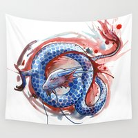 dragon Wall Tapestries featuring Dragon by Sam Nagel