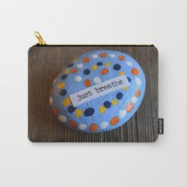Breathe-rock painted with inspirational saying Carry-All Pouch