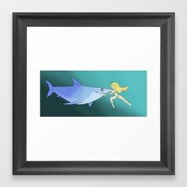 The Girl and the Shark Framed Art Print