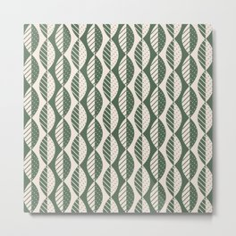 Mod Leaves in Olive and Cream Metal Print