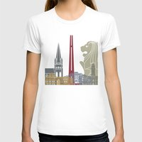 singapore T-shirts featuring Singapore skyline poster by Paulrommer