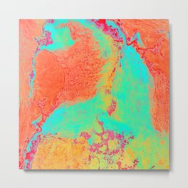 Marble Pattern - Neon Green and Orange Marble - Bright Colors Metal Print