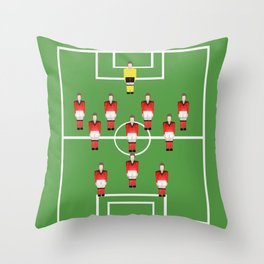 Soccer football team in red Throw Pillow