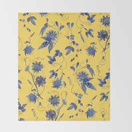 Elegant Blue Passion Flower on Mustard Yellow Throw Blanket