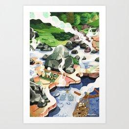 Hot spring onsen egg watercolor Art Print