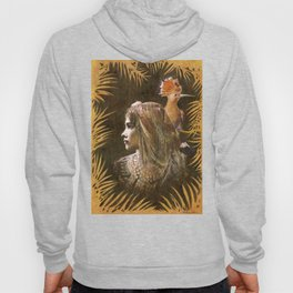 Vintage Decorative Girl and Bird Portrait Hoody