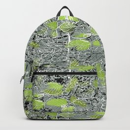 Leaves with black and white outlines and branches Backpack