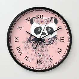Panda face and Sakura Wall Clock