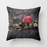 mushroom Throw Pillows featuring mushroom by Kalbsroulade