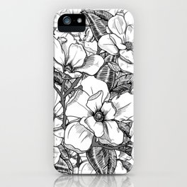 Magnolia Flower Line Art Floral Graphic Print Black and White Drawing iPhone Case