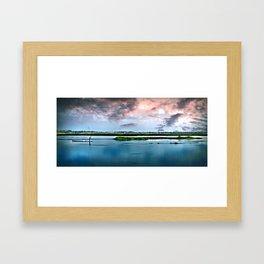 Fishing The Lake. Framed Art Print