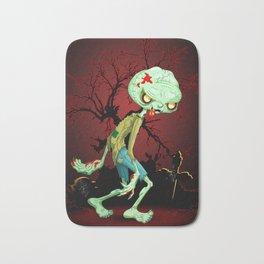 Zombie Creepy Monster Cartoon on Cemetery Bath Mat
