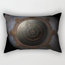 Steampunk Moon Clock Time Metal Gears Rectangular Pillow