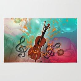 Violin with violin bow Rug