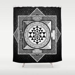 Mandala Sri Yantra Spiritual Zen Indian Bohemian Yoga Mantra Meditation Shower Curtain
