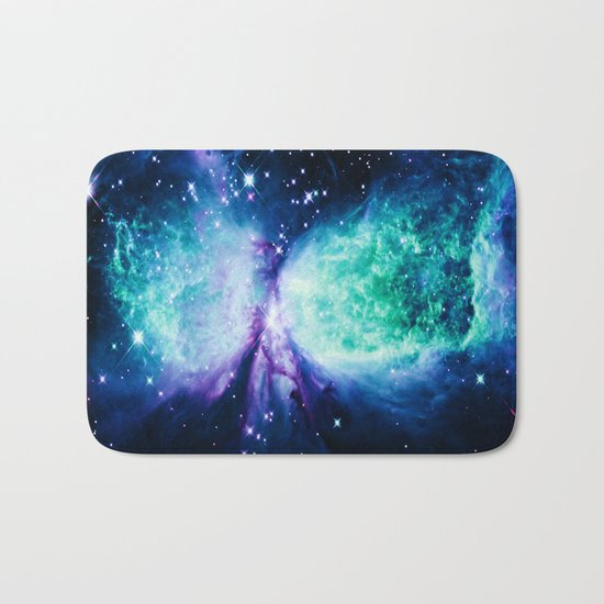 Space Galaxy : A Star is BORN Violet Mint Green Blue Bath Mat