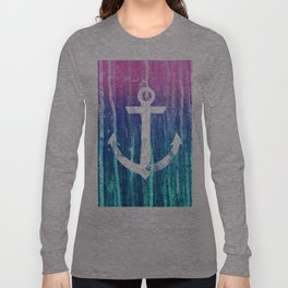 Nautical Anchor Pink Teal Watercolor Stripes Drips Long Sleeve T-shirt
