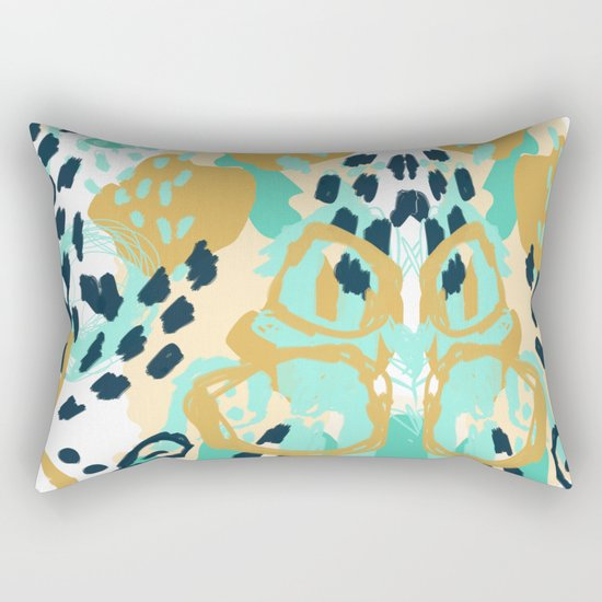 Silas - abstract print in mint, green, mustard navy Rectangular Pillow