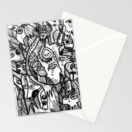 What is in my Head Black and White Hand Drawn  Graffiti Art Stationery Cards