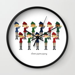 Eleven Pipers Piping Wall Clock