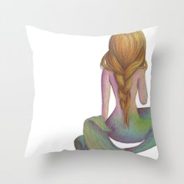 Yellow Haired Mermaid Throw Pillow