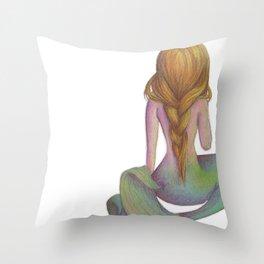Yellow Haired Mermaid Throw Pillow