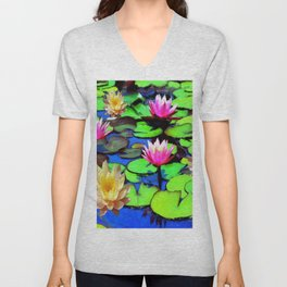 PINK & YELLOW WATER LILIES POND Unisex V-Neck