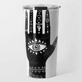 Hand with eye linocut black and white minimal boho third eye hamsa Travel Mug