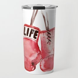 Boxing Gloves fan, Boxing Sport fan, Boxing life, Gym Art fan, watercolor painting Travel Mug