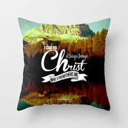 Typography Motivational Christian Bible Verses Poster - Philippians 4:13 Throw Pillow