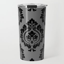 Decorative Damask Pattern Black on Gray Travel Mug