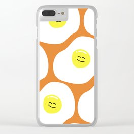 Fried Eggs Pattern Clear iPhone Case