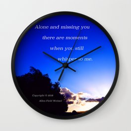 """""""Flickering Sunset"""" with poem: There Are Moments Wall Clock"""