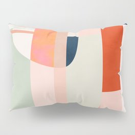shapes modern mid-century peach pink coral mint Pillow Sham