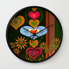 LOVE AND PEACE FLORAL PATERN Wall Clock