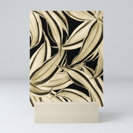 Dracaena Tropical Leaves Pattern Gold Black #2 #tropical #decor #art #society6 Mini Art Print