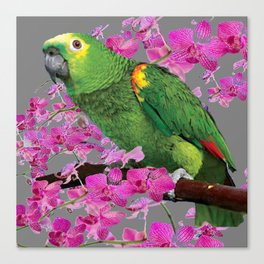 TROPICAL GREEN PARROT & FUCHSIA ORCHIDS  GREY ART Canvas Print
