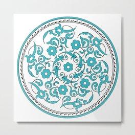 Round Green Floral Tile Art Metal Print
