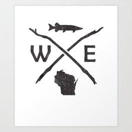 Muskie Fishing - Wisconsin Musky Fisherman Compass Gift T-Shirt Art Print