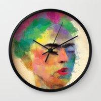 frida kahlo Wall Clocks featuring frida kahlo by vale agapi