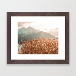 Golden Wheat Mountain // Yellow Heads of Grain Blurry Scenic Peak Framed Art Print