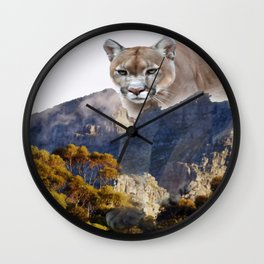 Mountain lion and mountains Wall Clock