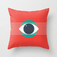 evil eye Throw Pillows featuring Evil Eye by smoraes
