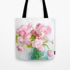 Dreamy Shabby Chic Ranunculus Peonies Roses Print - Spring Summer Garden Flowers Mason Jar Tote Bag